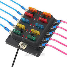 10 way ato blade fuse box holder led warning light kit for 12v 24v 12 volt fuse holder at Fuse Box 12v