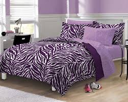 interior purple zebra pattern striped bedding bed with purple bed and white wooden bed frame