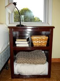 furniture: Old Brown Building A Nightstand And Fulfilled Content Plus Tiny  Table Lamp On Top