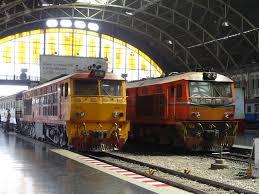 trains ready to depart from bangkok hua lamphong train station