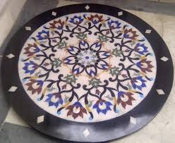 makrana white marble round inlay table top size 30 inches by 30 inches