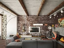 brick living room furniture. Living Room Exposed Brick Wall Interior Design The Sets Red Fireplace Furniture