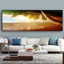 sunsets natural sea beach coconut palm