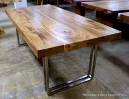 wood and chrome dining table impressive room gorgeous exotic plank countertop acacia home ideas 28