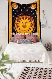 black multi psychedelic celestial sun moon star wall tapestry bedding