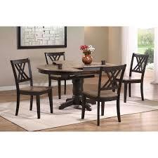 Iconic Furniture 5 Piece Oval Dining Table Set - Gray Stone / Black Stone |  Hayneedle