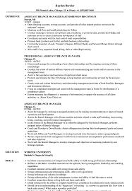 Assistant Branch Manager Resume Samples Velvet Jobs