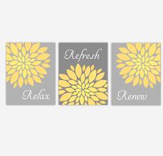 bathroom canvas wall art yellow gray grey relax refresh renew flower