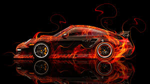 porsche fire abstract car