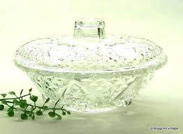 antique crystal candy dish with lid best stainless steel mixing bowls glass dishes lids vintage cut