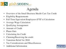 Health Care Tax Credit Chart Small Business Health Care Tax Credit Presented By Maureen