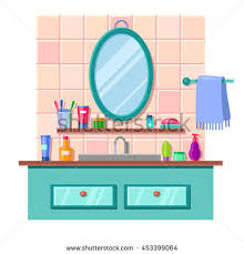 cartoon bathroom sink and mirror. Delighful And Vector Cartoon Bathroom Interior With Mirror Sink And Towel Lots Of Cute  Multicolored Tubes Inside Cartoon Bathroom Sink And Mirror Shutterstock