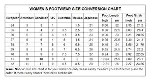 Women S Footwear Size Chart India 70 Genuine Size Chart For Womens Shoes