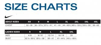 Size Chart Nike