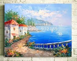 free handmade abstract greece terranea seascape oil painting home hotel inn wall art decor