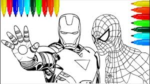 800 x 1488 jpeg 225 кб. Spiderman Iron Man Marvel Coloring Pages Colouring Pages For Kids With Colored Markers Youtube