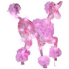 gemmy pre lit poodle with constant pink led lights