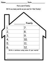 Word Families Template My Family Template Worksheets Teaching Resources Tpt
