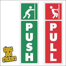 push and pull door window vinyl sticker