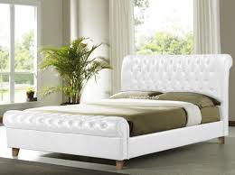 upholstered leather sleigh bed. Incredible Richmond White Chesterfield Sleigh Bed Frame 6ft Super Kingsize Within Leather Upholstered K