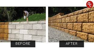 how to acid stain concrete retaining walls
