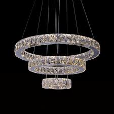 3 ring stainless steel built modern led crystal chandelier with remote control dk