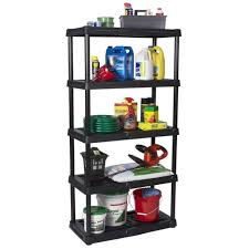 5 shelf plastic freestanding garage storage shelving organizer utility