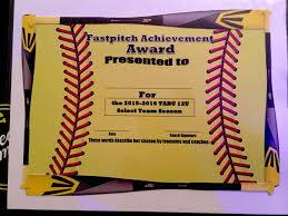 Fastpitch Softball Awards Certificate Softball Pinterest
