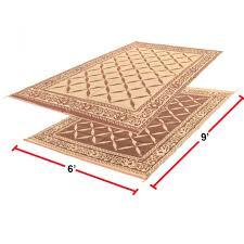 rv reversible mat 6 x 9 outdoor garden patio camping rug carpet beige brown