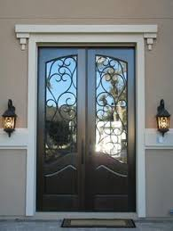 exterior glass wood door. Perfect Door Decoration Inspiring Black Double Entry Doors With Wrought Iron Glass  Inserts And White Crown Molding Also Oil Rubbed Bronze Lever Handles Alongside Antique  With Exterior Glass Wood Door