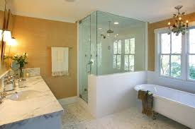 glass shower half wall how to build a half wall shower bathroom traditional with white molding
