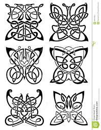 кельтские татуировки черных бабочек иллюстрация вектора