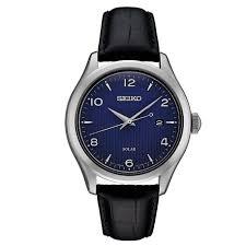 details about seiko men s sne491 solar essentials stainless steel black leather strap watch