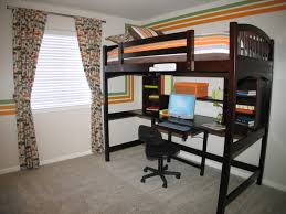 office bedroom inspiration stylish custom wooden black painted levels bed over laptop office desk and double awesome black painted