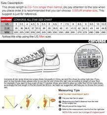 Converse Com Size Chart Original Converse Unisex Skateboarding Shoes Canvas Sneakers