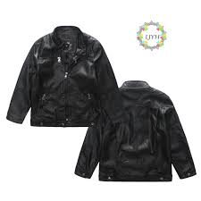 2017 autumn baby boys faux leather jacket stand collar children 4pocket design pu leather coat fashion