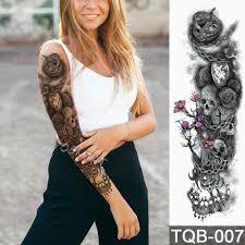 новый 4817 см полный тату цветок на руку стикер современные шестерни часы в форме