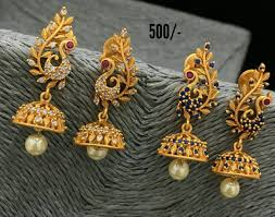 Design Of Ear Ring Beautiful Jumkhis With Peacock Design Earring Studded With