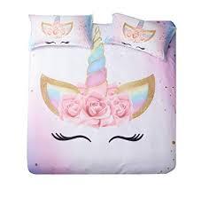 DEERHOME Unicorn Bedding 3 Piece Flower Girl ... - Amazon.com