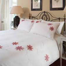 country fl white red lilly cotton double duvet set