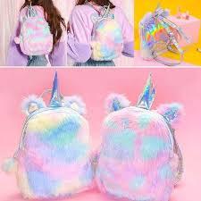 Cute <b>Women</b> Girls <b>Fluffy</b> Unicorn <b>Backpack Plush</b> School <b>Rucksack</b> ...