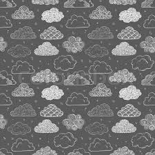 seamless background with doodle clouds on black can be used for wallpaper pattern fills textile web page background surface textures vector