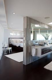 master bedroom with bathroom. Contemporary Master Bedroom Design And Bathroom With Floating Sink Cabinet Drawers Modern Style R