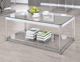 coaster 720748 coffee table in chrome clear acrylic