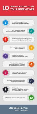 best ideas about answers to interview questions 10 great questions to ask your interviewer infographic often job interviews can feel