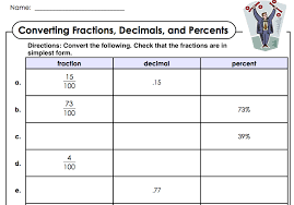 Convert Fractions To Percents Worksheet Worksheets