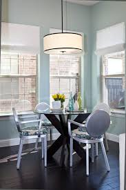 breakfast nook lighting dining room transitional with white shades round dining table breakfast table lighting