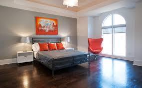 Orange and Gray Modern Bedroom contemporary-bedroom