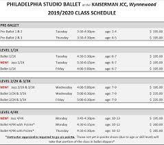 Class Schedule Jcc Wynnewood Philadelphia Studio Ballet