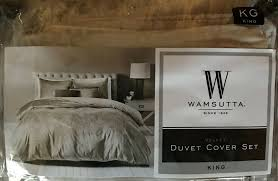 new nib wamsutta king velvet duvet cover in stone bed bath and beyond